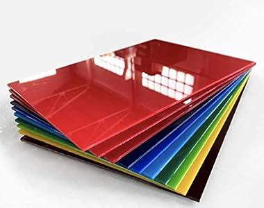 Hoja de plástico acrílico 3mm   Pack 10 unidades de colores sin rotular A4   Plancha Metacrilato colores   Acabado perfecto 