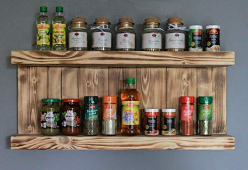 Especiero decorativo de madera – para pared o de pie – marrón (flameado) – 2 superficies – 29 x 65 x 12 cm – Madera maciza