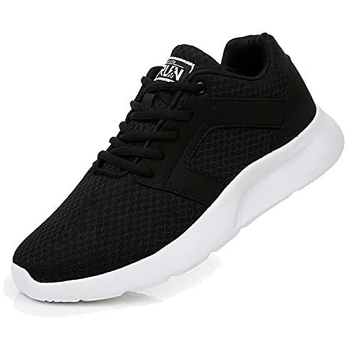 Fexkean Scarpe da Ginnastica Sportive Uomo Donna Running Sneaker Casual Leggero Basse Corsa Calzature Outdoor Fitness Traspirante Mesh (8996 Black/White 39)