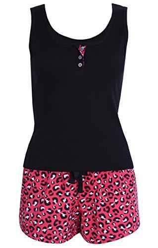 Pijama Rojo y Negro con Estampado de Leopardo