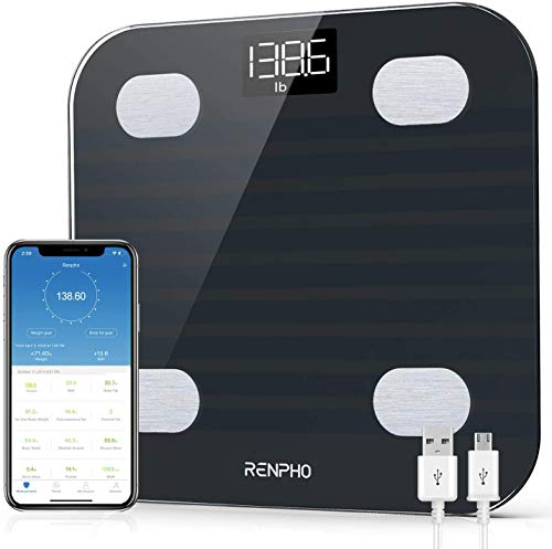 RENPHO Bluetooth Body Fat Scale, Smart BMI Scale,13 Body Composition Analyzer USB Rechargeable Digital Body Weight Bathroom Scale with Smart Phone App, 396 lbs, Black