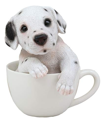 Ebros Realistic Adorable Spotted Dalmatian Puppy Dog in Teacup Statue 6' Tall Pet Pal Collectible Dalmatians Decor Figurine with Glass Eyes of Pedigree Dogs Pets Buddies Animal Collectibles and Gifts