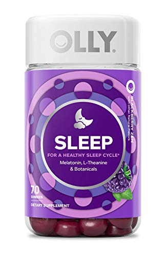 OLLY Sleep Melatonin Gummy, All Natural Flavor and Colors with L Theanine, Chamomile, and Lemon Balm, 3 mg per serving, 35 Day Supply (70 gummies)