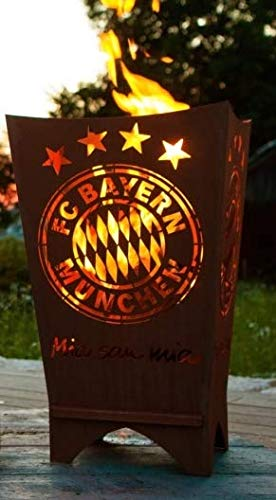 Garten Himmel kompatibel mit FC Bayern München Feuerkorb Mia san mia eckig