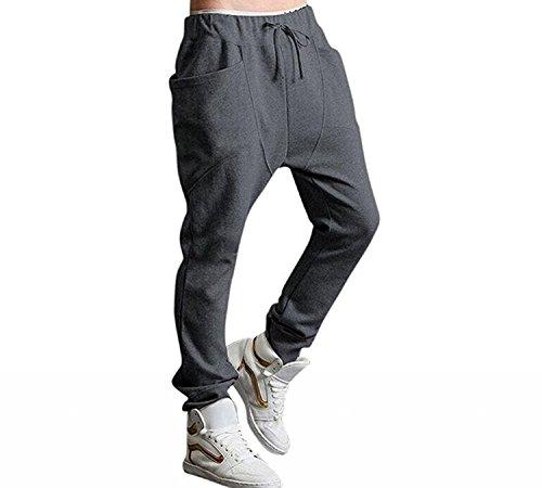 Minetom Hombres Harén Pantalones Deportivos Pantalones Casual Trotar Bailando Baggy Pantalones (EU M, Gris Oscuro)
