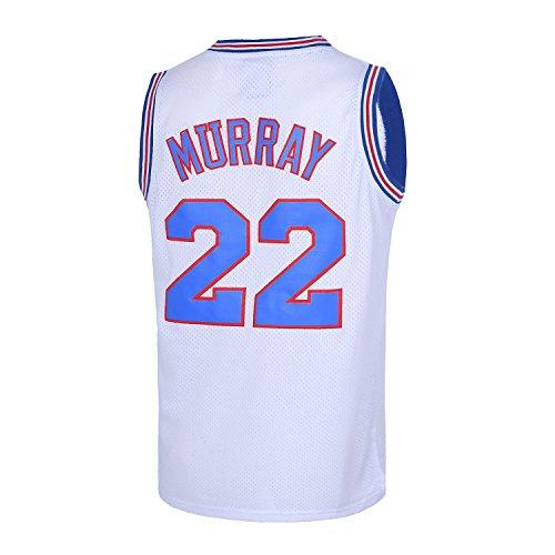 TUEIKGU Bill Murray #22 Space Movie Jersey Mens Basketball Jersey S-XXL White (X-Large)