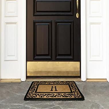 Coco Mats N More Personalized Coir Entrance Mat / Doormat – Black Rolling Scrolls Border with Monogram 22  x 36