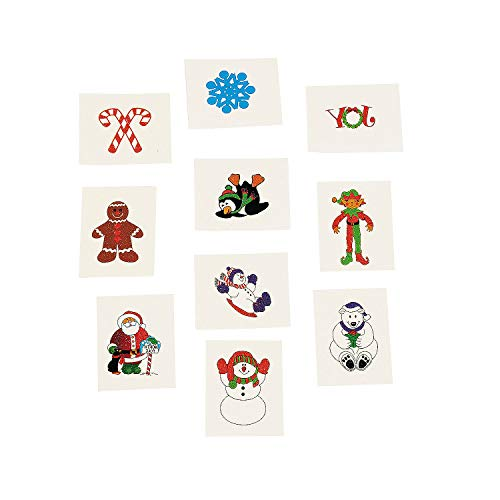Christmas Holiday Glitter Temporary Tattoos For Kids (72 Pieces) Holiday Favors and Giveaways, Stocking Stuffers