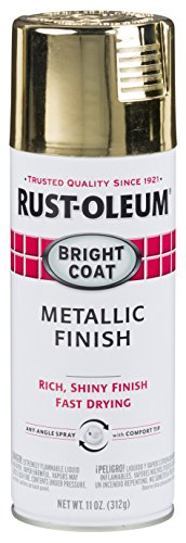Rust-Oleum 7710830-6PK Stops Rust Bright Coat Metallic Spray Paint, 6 Pack, Gold, 66 Fl Oz