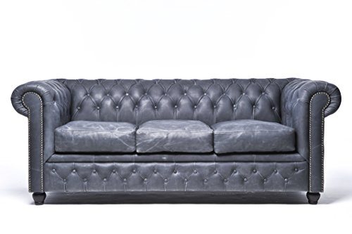 Canapé Chesterfield original 3 places en cuir véritable lavé à la main - Vintage Noir