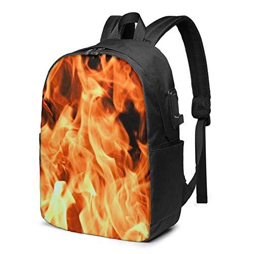 School Bag Back Pack,Laptop Backpack with USB Port Fire Burning Campfire 15, Business Travel Bag, College School Computer Rucksack Bag for Men Women 17 Inch Laptop Notebook