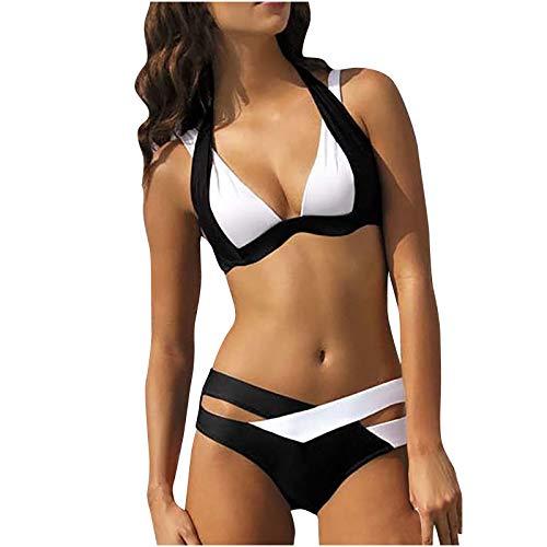 TPulling Zweiteiliger Badeanzug Bikini-Sets für Damen,Neckholder Bikini Oberteil High Waist Bikinihose Kreuz und quer,Split Badeanzug Strandkleidung