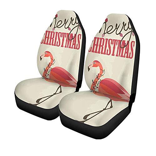 Beth-D 2 stuks autostoelhoezen voor autostoelen, Pink Flamingo Frohe Kerstmis motief Tropical Kerstman slinger universele autostoelbeschermer 14 – 17 inch