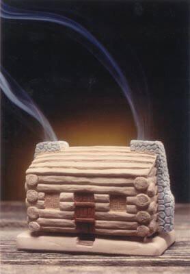 Log Cabin Burner With Pinon Natural Wood Incense - Incienso De Santa F
