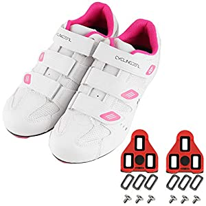 CyclingDeal Bicycle Road Bike Universal Cleat Mount Women's Cycling Shoes White with 9-Degree Floating Look ARC Delta Compatible Cleats Compatible with Peloton Indoor Bikes Pedals Size 40