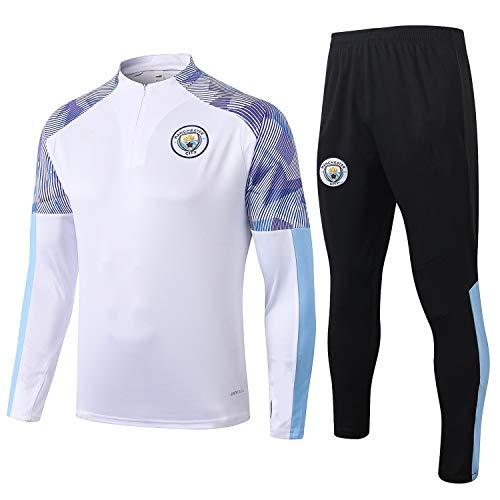 PARTAS Manchester City Tracksuits Football Wear Verein Uniform Langarm-Trainingsanzug Wettbewerb Anzug Herren 2 Stück Sets (Size : S)
