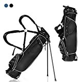 Costway Black Golf Stand Bag Club w/4 Way Divider Cart Bag Travel Bag