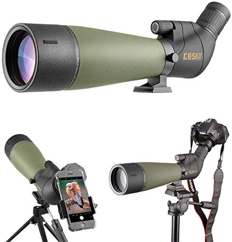 Gosky 2019 Updated Newest Spotting Scope with Tripod, Carrying Bag - BAK4 Angled Scope for Target Shooting Hunting Bird...