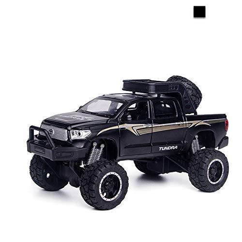 AIOJY Simulation 1.32 Großrad Tantu Pickup mit Ton und Licht-Tür-Legierung Geländewagen for Auto-Modell-Sammler, Neujahr Weihnachten Geburtstags-Geschenke for Kinder (Color : Black)