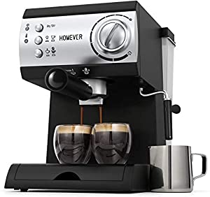 Traditional Pump Espresso Coffee Machine,Homever 15 Bar 1050W Italian Traditional Espresso Coffee Maker with Milk Frothing,1.5L Removable Water Tank,Washable Drip Tray for Latte,Cappuccino,etc.
