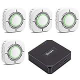 CCZMD 433 Detector Humo Detector - 433Mhz para WiFi Control Remoto Smart Home Kit Seguridad RF Radio Frecuencia Fuego Detector Humo Remoto del Interruptor Control Remoto,Set