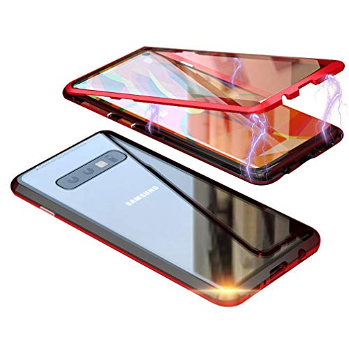 UMTITI Compatible Samsung Galaxy S10 Plus Case, Magnetic Clear Tempered Glass Cover with a Screen Protector (Black-red)