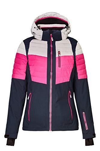 killtec Skijacke Damen Yalind - Winterjacke Damen - Damenjacke sportlich mit Skipasstasche - warme Jacke für den Winter - wasserdicht & atmungsaktiv, hellgraumelange, 34