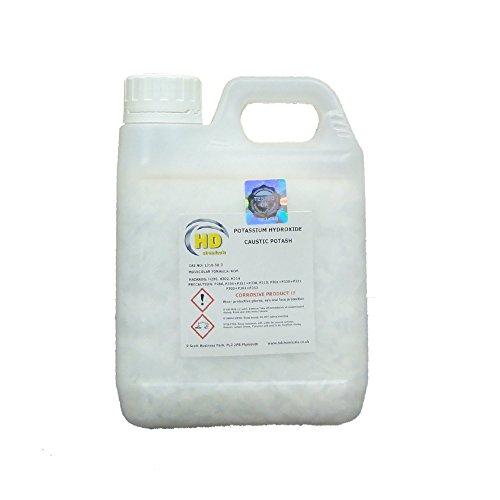 Hidróxido de potasio en copos, 90 % de potasa cáustica, producto de calidad, 800g, 1