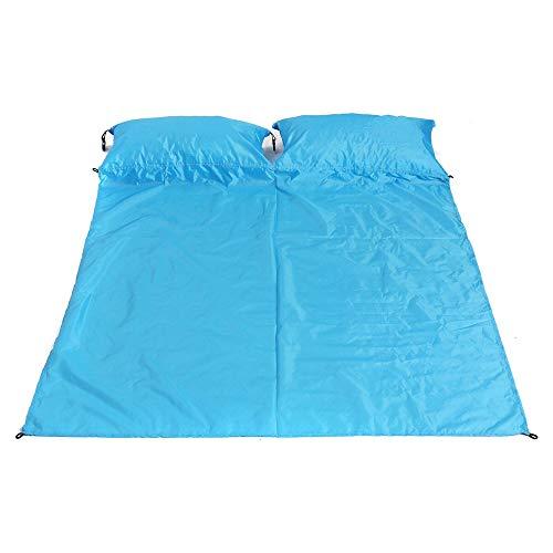 Alfombrilla de camping impermeable con cojín de aire para exteriores, con almohada, portátil, a prueba de humedad, con alfombrilla para playa, parque, senderismo (tamaño: 2; color: azul)