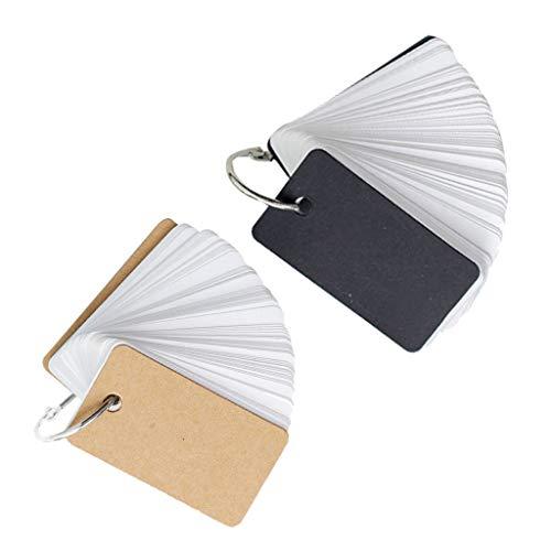 #N/a 2 Piezas/Juego de Tarjetas de Notas con Anillo de Carpeta Bloc de Notas DIY Flash Cards Caqui/Negro