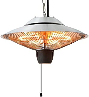 Ener-G+ HEA-21524 Infrared Indoor/Outdoor Ceiling Electric, Hanging Heater Gazebos, Patios, Safe for Kids and Pets, Pure Heat, Water/Dust Resista, Silver