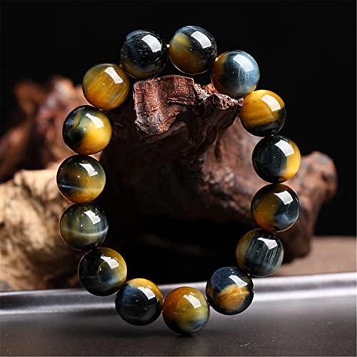 Feng shui pulsera cristal curativo natural amarillo tigre ojo cristal piedra afortunado encanto equilibrio pulsera azul tigres ojo brazaletes vacaciones amuleto atraer dinero prosperidad suerte,10mm