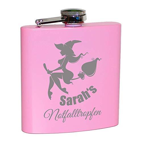 Pinker Flachmann Notfalltropfen, mit Hexe und persönlicher Namens Gravur! Lustiges Geschenk für Frauen. Rosa Pink