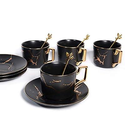 8.5 oz Golden Hand Print Tea Cup With Saucer Set And Cup And Ceramics Saucer Set Black (Set of 4)