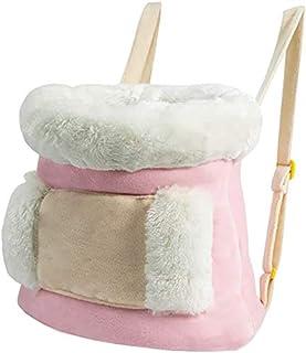 Rosa, varm pälsklädd transportväska för katt som bärs framtill på magen.