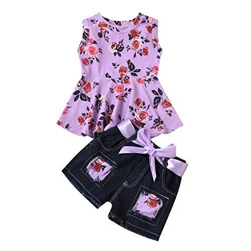 Juego de ropa para niña con cuello redondo, camisa sin mangas, cuello redondo, juego de vaqueros con chaleco deportivo casual violeta 12-18 meses
