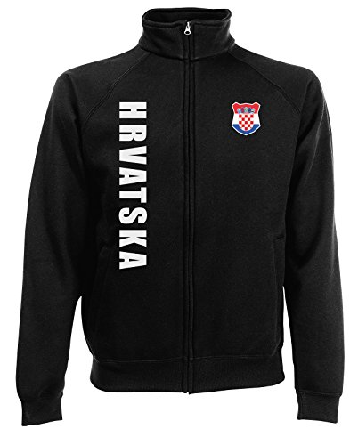 AkyTEX Kroatien Hrvatska EM-2020 Sweatjacke Wunschname Wunschnummer Schwarz L