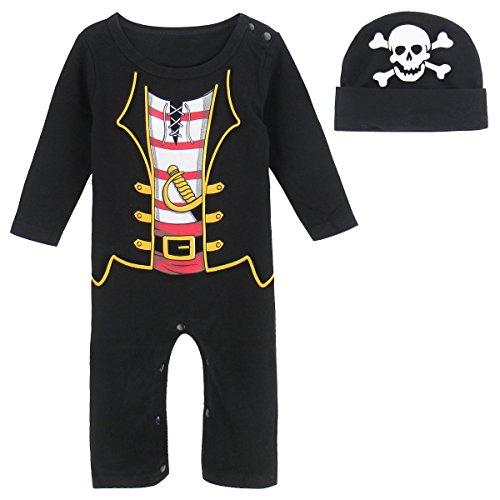 MOMBEBE COSLAND Mono Bebé Niño Manga Larga Disfraz Pirata Algodón (6-9 Meses, Pirata)