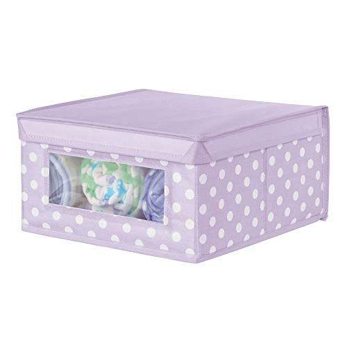 mDesign Caja apilable con Ventana – Organizador de armarios Grande para despacho, Dormitorio o Sala de Estar – Contenedor con Tapa de Fibra sintética – Lila Claro/Blanco