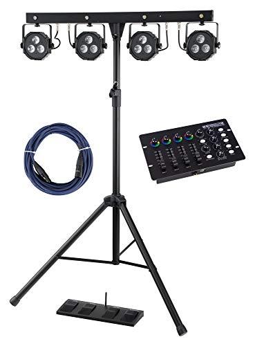 Showlite LB-4390 Komplettanlagen Set mit DMX-Operator (Mobile Lichtanlagen mit Tri-LED PAR-Spots mit je 3 St. 9W LEDs & weiße Strobe-Spots 1W LEDs, LED DMX-Controller & 10 m DMX-Kabel)