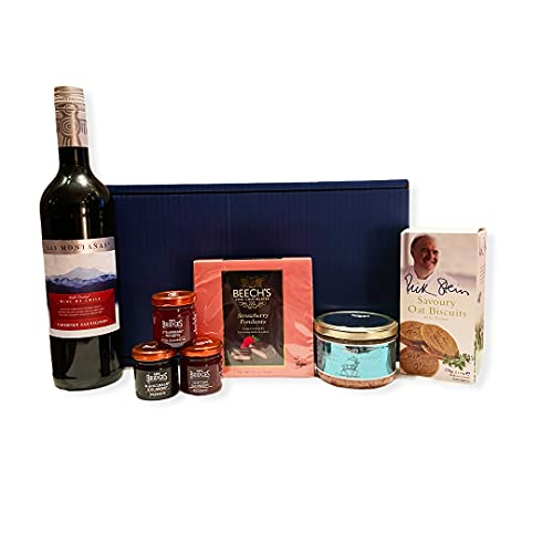 Premium Clarendon Blue Box with Las Montanas Red Wine and Food Hamper - Ideas for Mum, Birthday, Anniversary, Business, Corporate, Him, Her, Dad