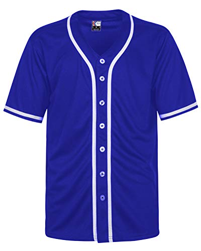 MOLPE Hip Hop Hipster Button Down Baseball Jersey (L, Blue/White-2)