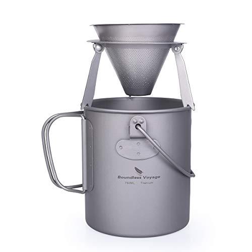 iBasingo Titan Kaffeefilter und 750ml Tasse Wiederverwendbares Filternetz mit Verstellbarer Halterung Abnehmbarer Kaffeetrichter und Becher für Indoor Outdoor Camping Home Ti15127I
