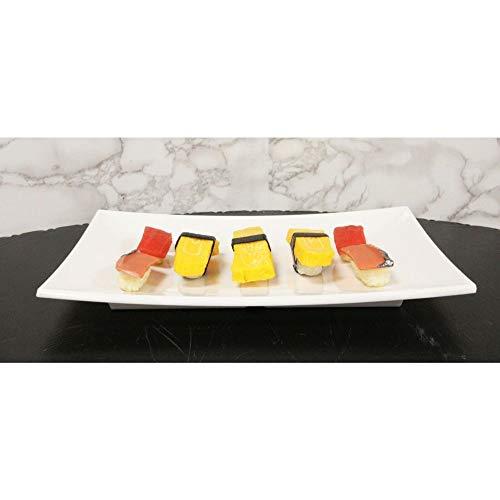 8.25' W White Melamine Curved Rectangular Sushi Serving Plates Platters Set of 6 Figurine EBR02