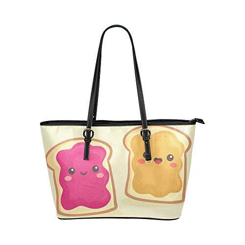 Pain grillé mignon petit déjeuner bande dessinée grand cuir souple poignée supérieure sacs à main causale sacs à main causale fermeture à glissière épaule sac bagages pour travail dame filles femmes
