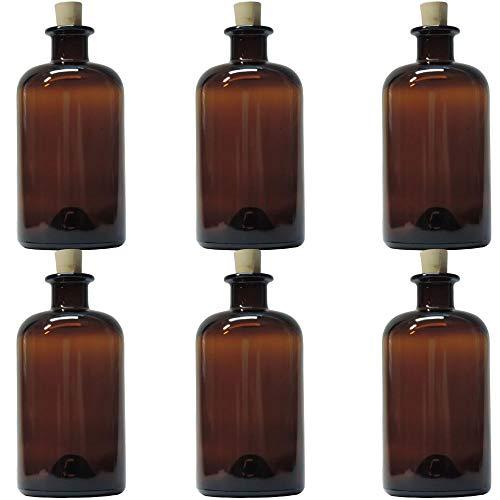 mikken | 6 x Apothekerflasche 500 ml Glasflasche mit Korken und Etiketten