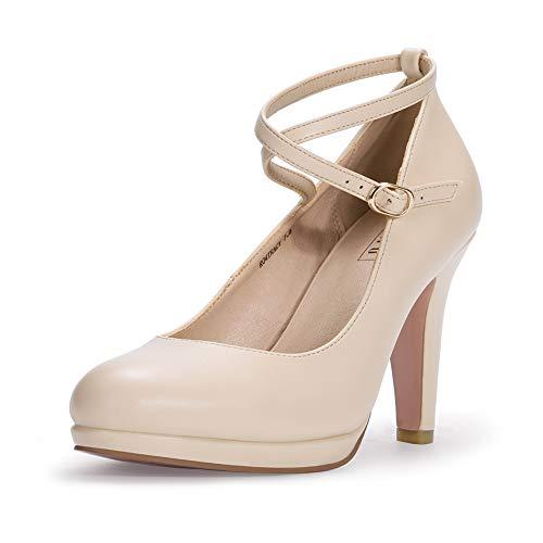 IDIFU Women's Tracy Crisscross Strap Platform High Heels Pumps Elegant Round Toe Prom Party Shoes (8 M US, Nude Pu)