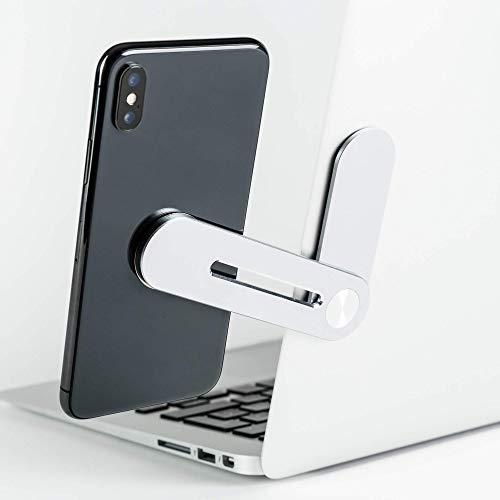 VARUTA - Soporte para móvil y Ordenador portátil, PC, Accesorio de Escritorio, Doble Pantalla, magnético, imán, aleación de Aluminio, Plateado.