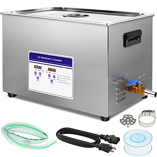30L Ultrasonic Jewelry Cleaner, Professional 40kHz Ultrasonic Carburetor Cleaner with Heater and Timer,Commercial Ultrasound Cleaning Machine for Circuit Board Instrument