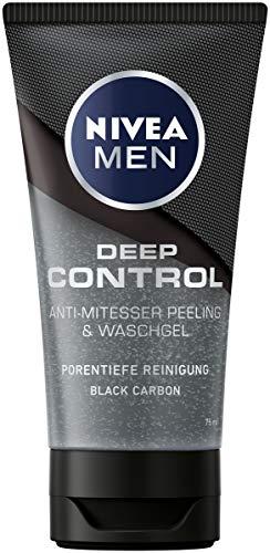 NIVEA MEN Deep Control Anti-Mitesser Peeling und Waschgel im 1er-Pack (1 x 75 ml), Gesichtsreinigung, porentiefe Reinigung mit Peeling fürs Gesicht
